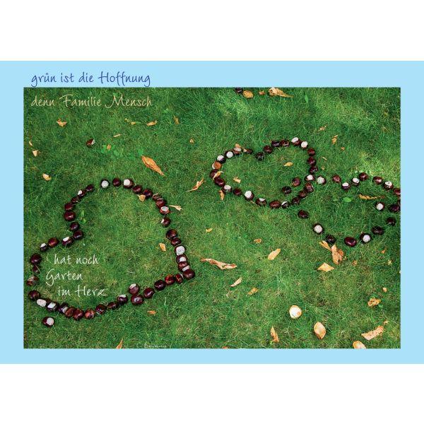 """Postkarte """"Grün ist die Hoffnung, denn Familie Mensch ..."""" - 5 Stück"""