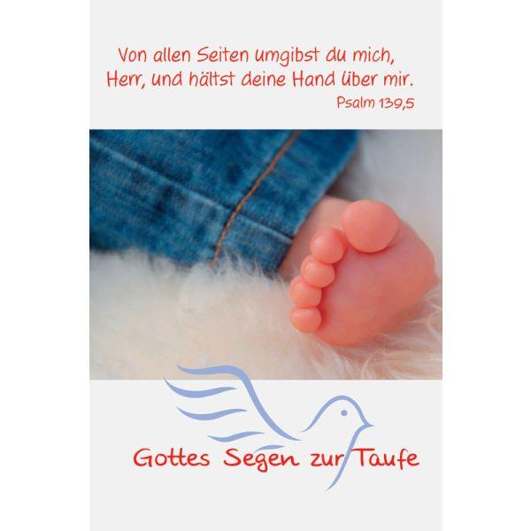 """Faltkarte """"Gottes Segen zur Taufe - Von allen Seiten umgibst..."""" - 5 Stück"""