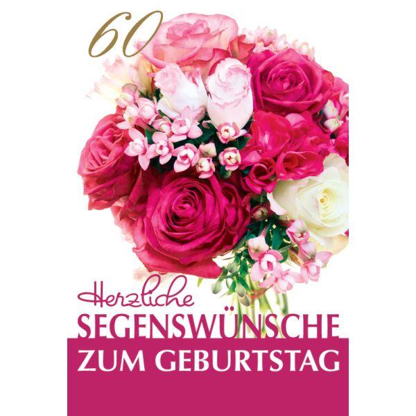 """Faltkarte """"Herzliche Segenswünsche zum Geburtstag – 60"""" Blumenstrauß – 5 St."""