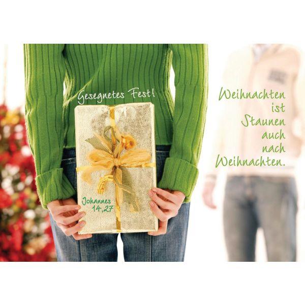 """Faltkarte """"Gesegnetes Fest - Weihnachten ist Staunen ..."""" - 5 Stück"""