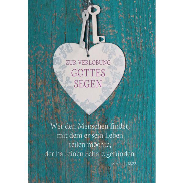 """Faltkarte """"Zur Verlobung Gottes Segen"""" - 5er-Pack"""