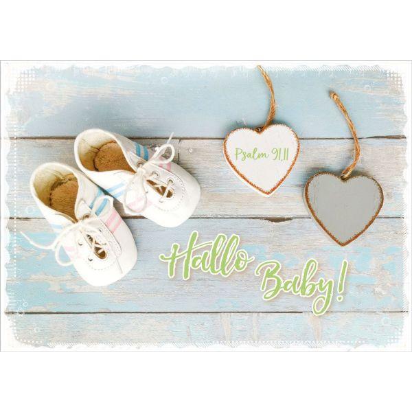 "Faltkarte ""Hallo Baby - Vintage"" - Geburt"