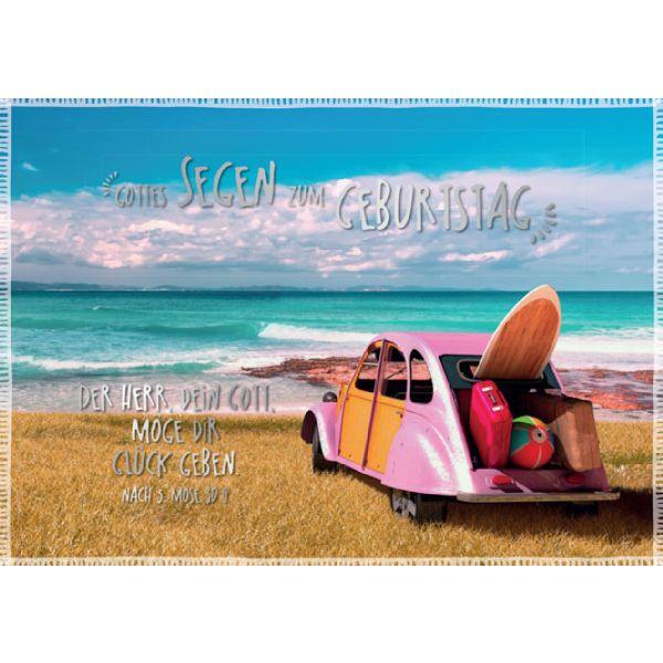 "Faltkarte ""Rosa Ente am Meer"" - Geburtstag"