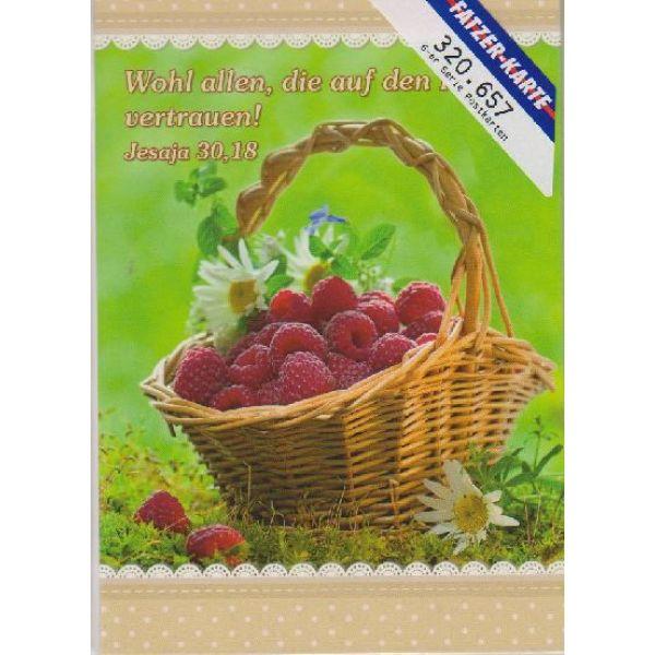 Postkarten Körbe mit Blumen und Früchten, 6 Stück