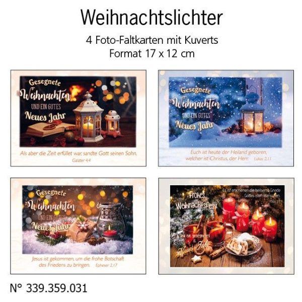 Faltkarten Weihnachten/Neujahr, 4 Stück