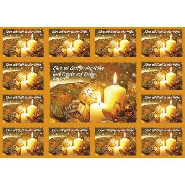Aufkleber-Gruß-Karten: Ehre sei Gott in der Höhe - 4 Stück