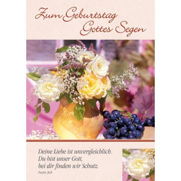 Postkarten: Zum Geburstag Gottes Segen, 4 Stück