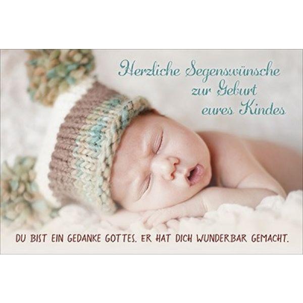 Faltkarte: Herzliche Segenswünsche - Geburt