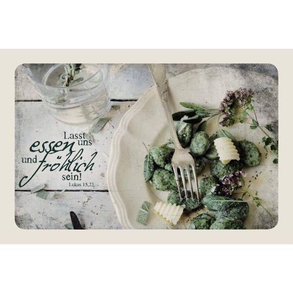 """Leinwand Tischgemeinschaft """"Lasst uns essen und fröhlich sein"""""""