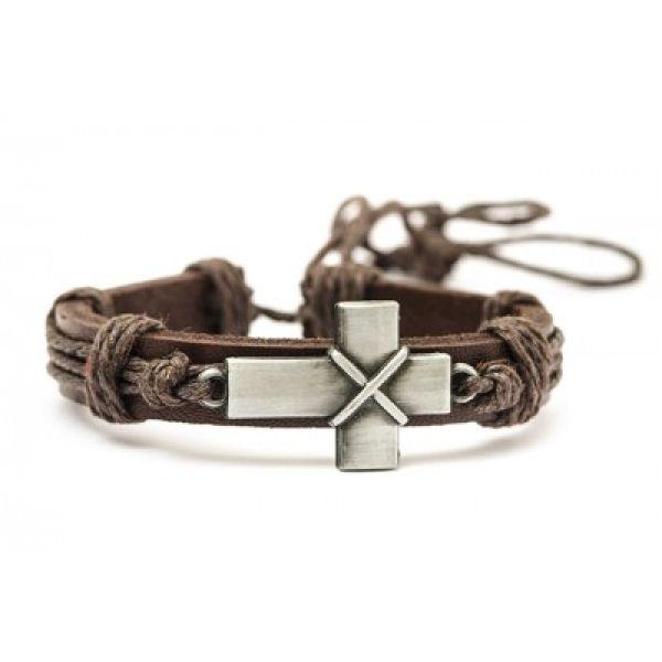 Leder-Armband Kreuz