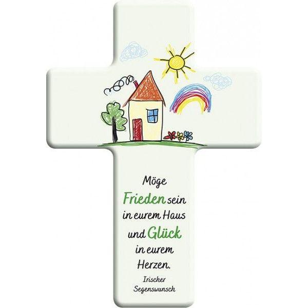 """Metall-Kreuz """"Möge Frieden sein in eurem Haus"""""""