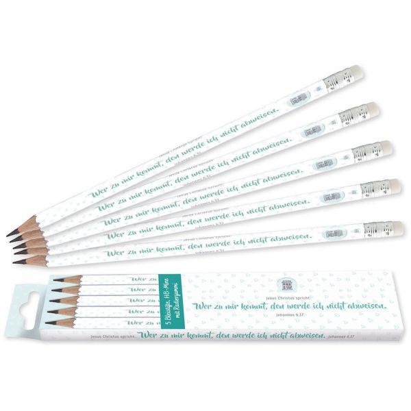 Jahreslosung 2022 - Bleistifte Herz-Design 5er Pack
