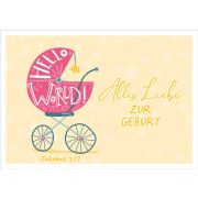 "Faltkarte ""Hello World - Kinderwagen "" - Geburt"