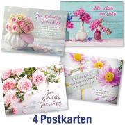 Postkartenserie: Geburtstag - gemischte Blumenmotive 4 Stk.