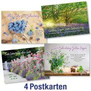 Postkartenserie: Geburtstag - gemischte Motive 4 Stk.