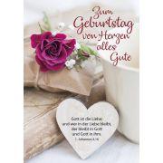 Postkarten: Zum Geburtstag von Herzen alles Gute, 4 Stück