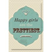 "Dekoschild ""Happy girls are the prettiest"""