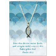 Halskette: Fisch mit Kreuz