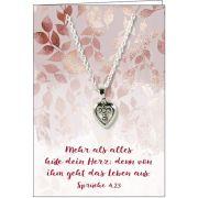 Halskette: Herz mit Kreuz