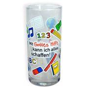 """Trinkglas """"Mit Gottes Hilfe"""""""