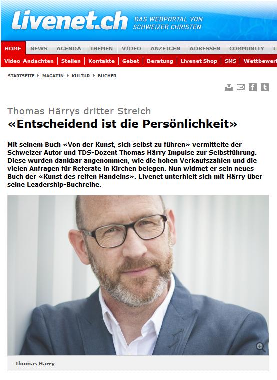 Das Schweizer Webportal LIVENET hat mit Thomas Härry über sein neuestes Buch gesprochen