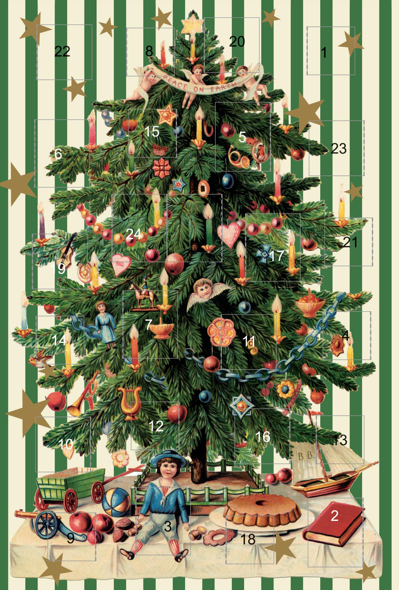 faltkarte adventskalender weihnachtsbaum 5 st ck. Black Bedroom Furniture Sets. Home Design Ideas